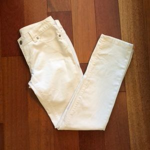 Loft white denim modern straight pants